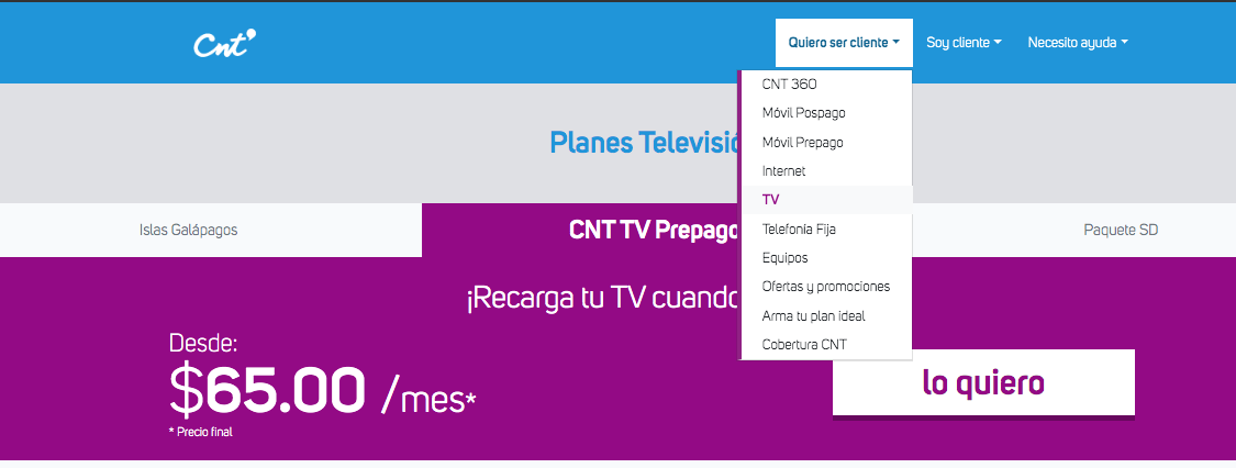 ¿Dónde Puedo Comprar Una CNT Tv Prepago En Ecuador?